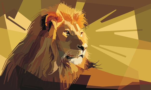 Retrato de un atento león macho descansando Vector Premium