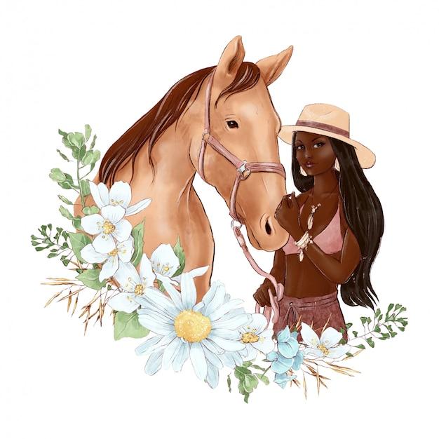 Retrato de un caballo y una niña en estilo acuarela digital y un ramo de margaritas Vector Premium