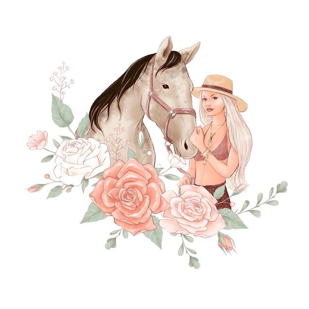 Retrato de un caballo y una niña en estilo acuarela digital y un ramo de rosas Vector Premium