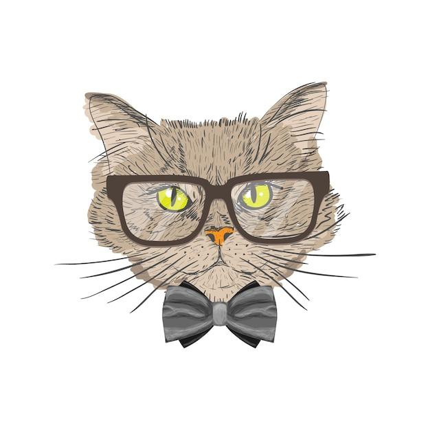 Retrato de un gato con pajarita y gafas hipster con mirada aislado ilustración vectorial Vector Gratis