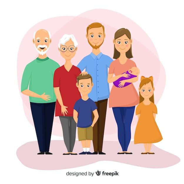 Retrato de familia feliz, diseño de personajes vectorizados vector gratuito