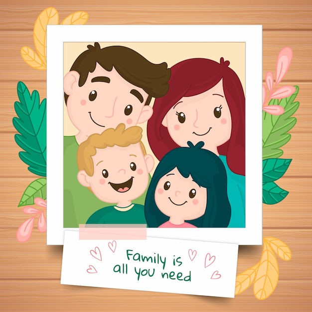 Retrato familiar dibujado a mano en una polaroid vector gratuito