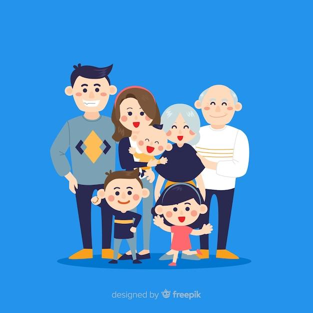 Retrato familiar dibujado a mano vector gratuito