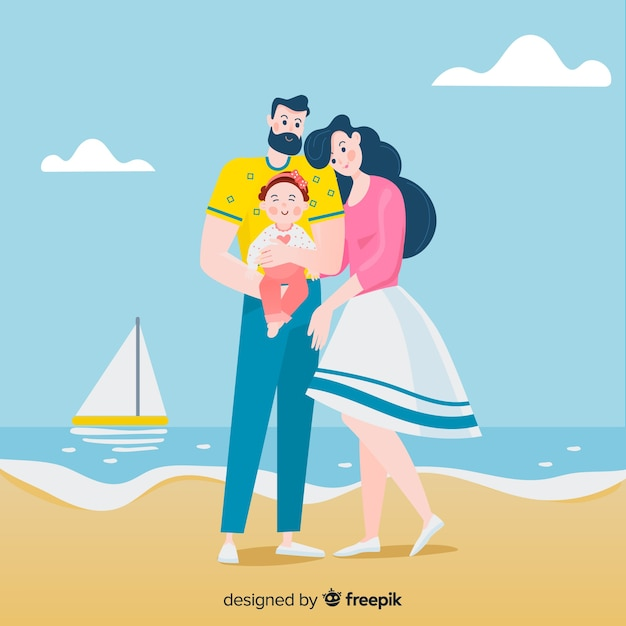 Retrato familiar en la playa dibujado a mano vector gratuito