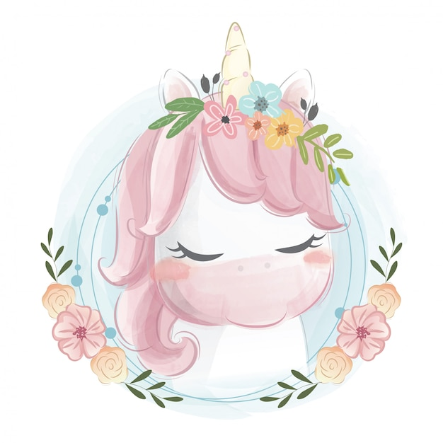 Retrato lindo del unicornio Vector Premium