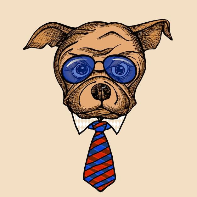 Retrato de moda bulldog vector gratuito