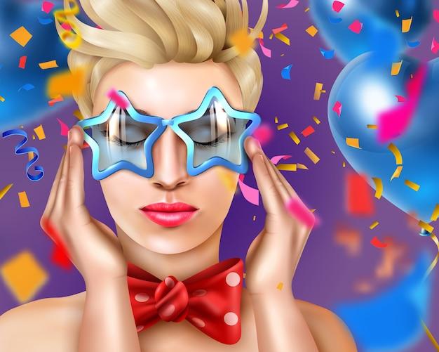 Retrato de mujer con accesorios de carnaval y gafas en forma de estrella, en una fiesta vector gratuito