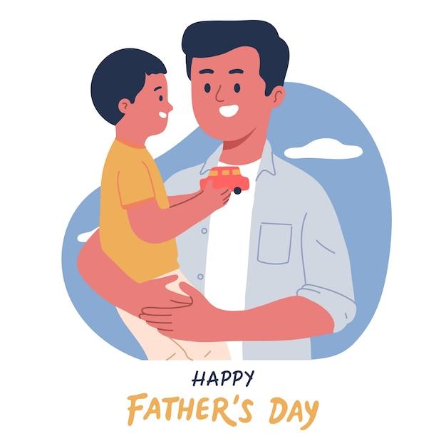 Retrato de padre e hijo abrazándose para celebrar el día del padre vector gratuito