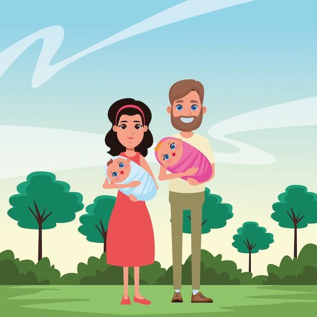 Retrato de personaje de dibujos animados de avatar familiar vector gratuito