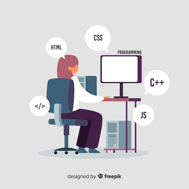 Retrato de programador trabajando con pc. vector gratuito