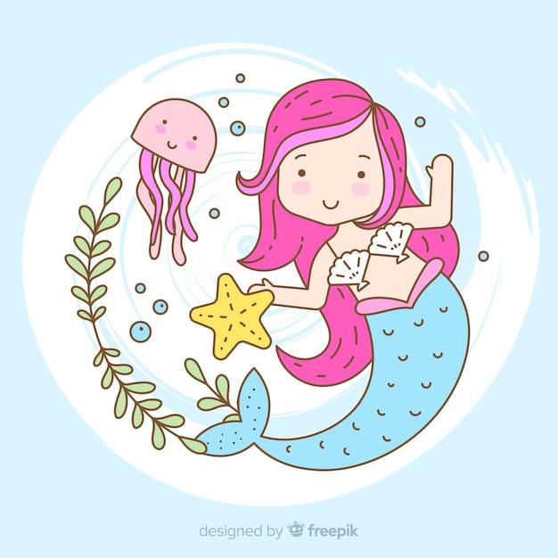 Retrato sirena bonita dibujada a mano vector gratuito