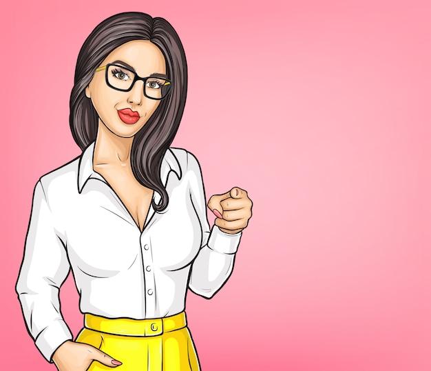 Retrato de vector de dibujos animados joven mujer morena vector gratuito