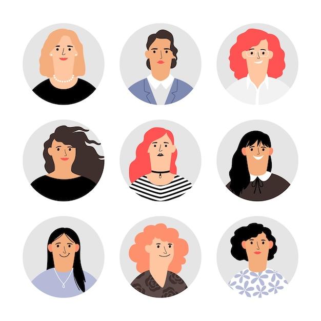 Retratos de avatar de rostro de mujer. avatares de rostros femeninos, personas de mujeres vectoriales, varias cabezas de niñas vectoriales con cabello hermoso, personajes felices rubios y morenos coloridos Vector Premium
