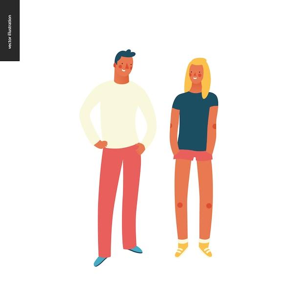Retratos de personas brillantes, hombres y mujeres jóvenes. Vector Premium