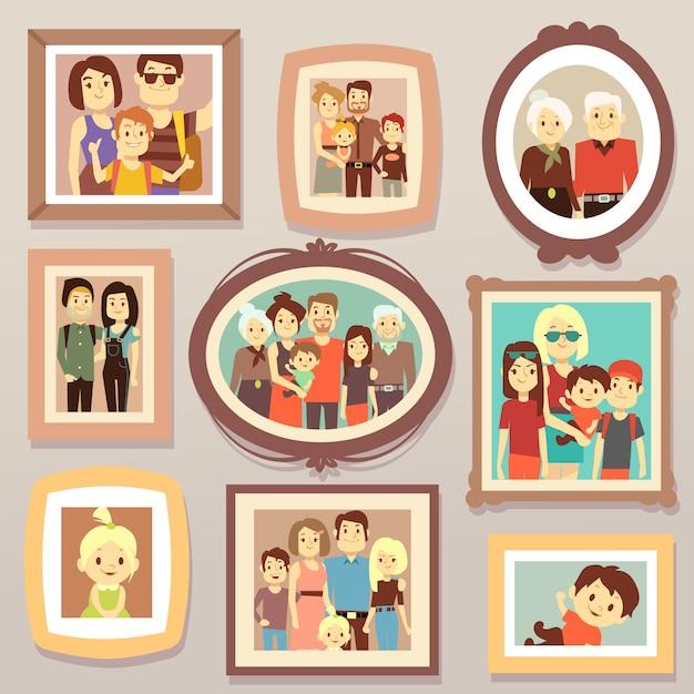 Los retratos sonrientes de la foto de la familia grande en marcos en la pared vector el ejemplo. cuadro de retrato familiar, madre y padre, familia feliz. Vector Premium