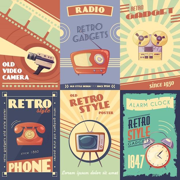 Retro artilugios carteles de dibujos animados con cámara radio reproductor musical teléfono tv despertador vector gratuito