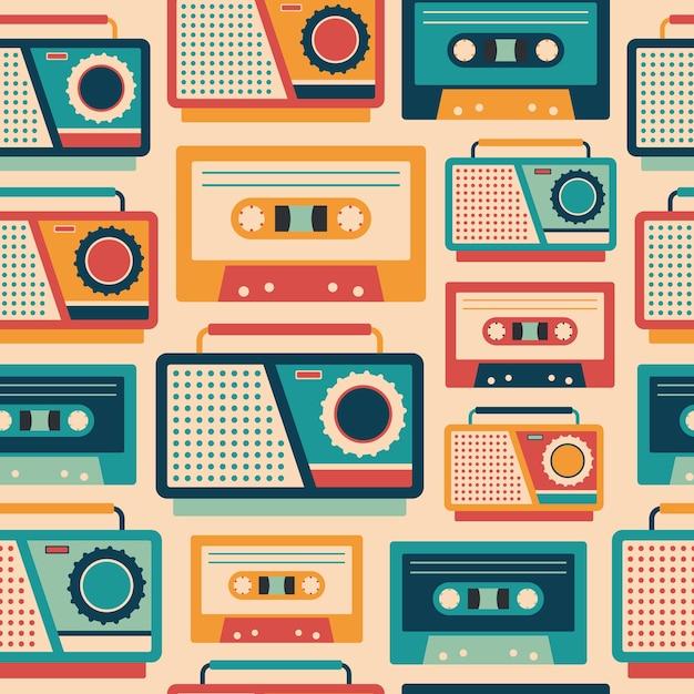 Retro grabadoras y cassettes de patrones sin fisuras. Vector Premium