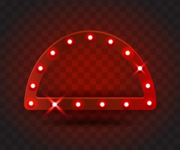 Retro show time arco marco signos ilustración realista. marco de arco rojo con bombillas eléctricas para rendimiento, cine, entretenimiento, casino, circo. fondo transparente Vector Premium