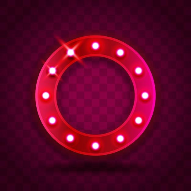 Retro show time círculo marco signos ilustración realista. marco de círculo rojo rosa con bombillas eléctricas para rendimiento, cine, entretenimiento, casino, circo. fondo transparente Vector Premium