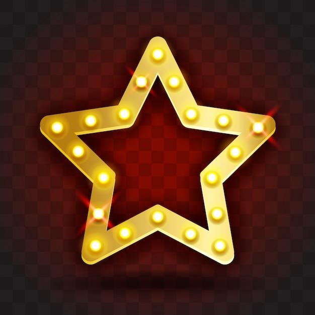 Retro show time marco estrella signos ilustración realista. marco de estrella dorada con bombillas eléctricas para espectáculos, cine, entretenimiento, casino, circo. fondo transparente Vector Premium