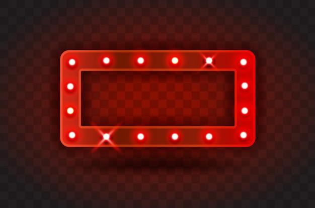 Retro show time rectángulo marco signos ilustración realista. marco rectangular rojo con bombillas eléctricas para espectáculos, cine, entretenimiento, casino, circo. fondo transparente Vector Premium