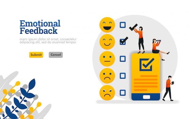Retroalimentación emocional con emoticonos y listas de verificación. Vector Premium
