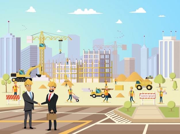 Reunión de acuerdo de socio y contratista en la construcción de edificios Vector Premium