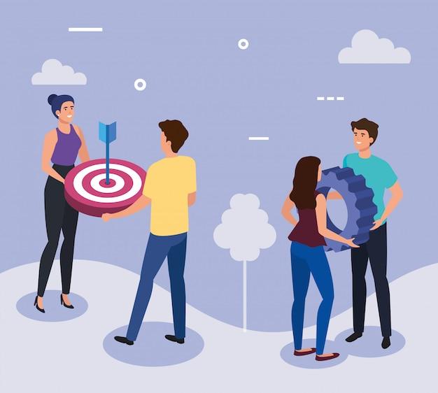 Reunión de empresarios con objetivo y equipo vector gratuito