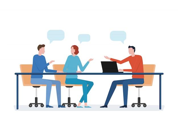 Reunión de equipo de negocios de grupo plano y concepto de trabajo Vector Premium