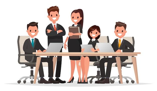 Reunión de gente de negocios ilustración Vector Premium