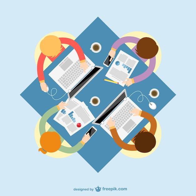 Reunión de negocios a color vector gratuito