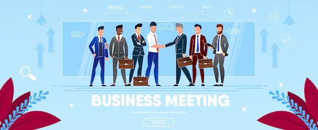 Reunión de negocios del grupo de personas dándose la mano. Vector Premium