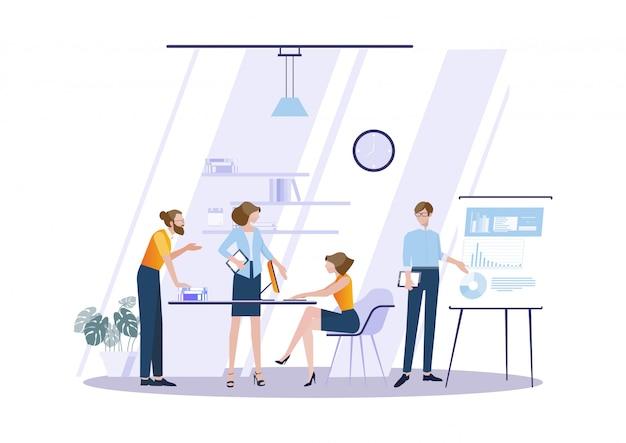 Reunión de negocios y lluvia de ideas. Vector Premium