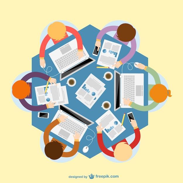 Reunión de negocios vista superior vector gratuito