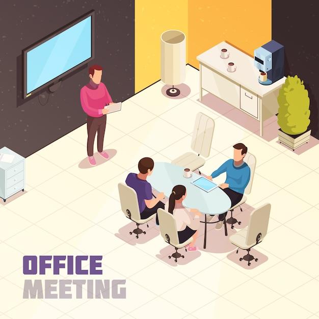 Reunión de oficina isométrica vector gratuito