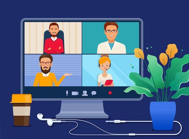 Reunión virtual colectiva en una pantalla de computadora Vector Premium