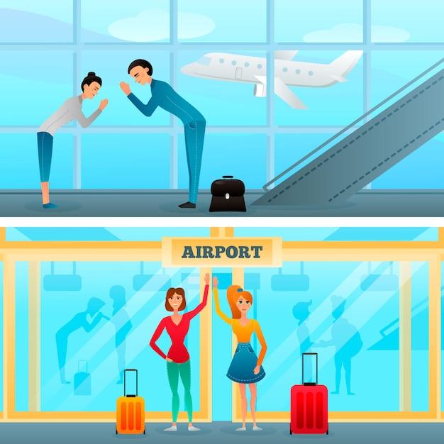 Reuniones y gestos de saludo en las pancartas del aeropuerto vector gratuito