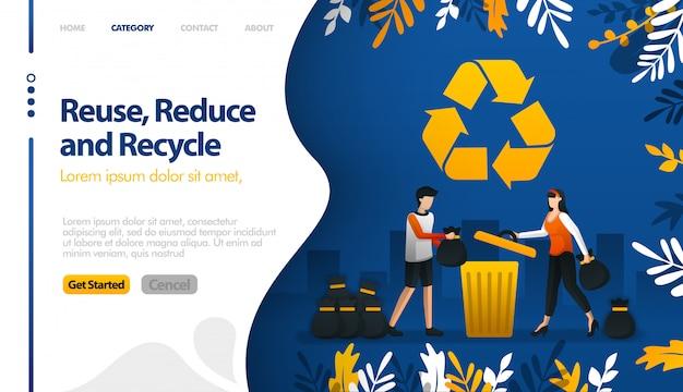 Reutilice, reduzca y recicle con ilustraciones de botes de basura y pilas de basura de la ciudad Vector Premium