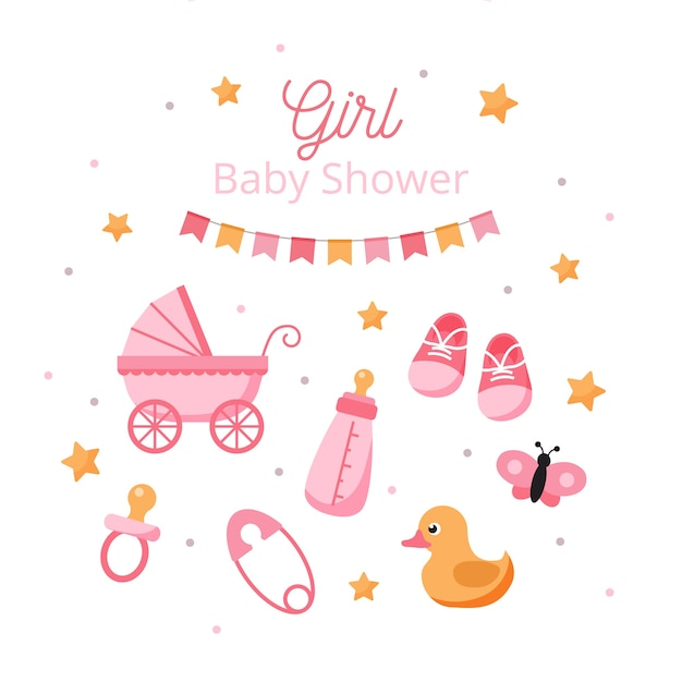 Revelación de género de baby shower para niña Vector Premium