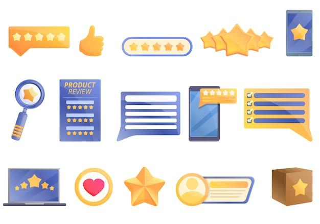 Revisión de producto, conjunto de iconos de estilo de dibujos animados Vector Premium