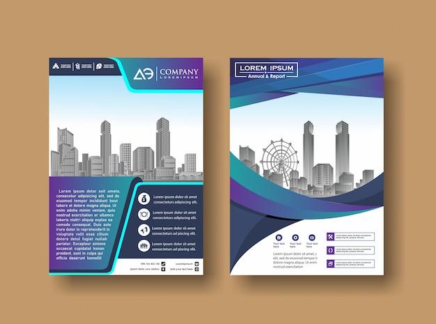 Revista anual de cuadernillo de libro de informes con la imagen del edificio Vector Premium