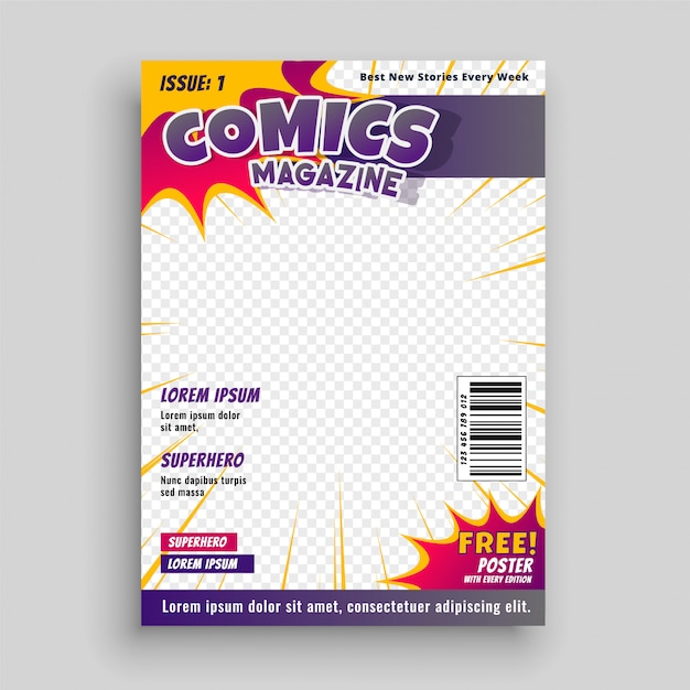Revista de cómic plantilla de portada vector gratuito
