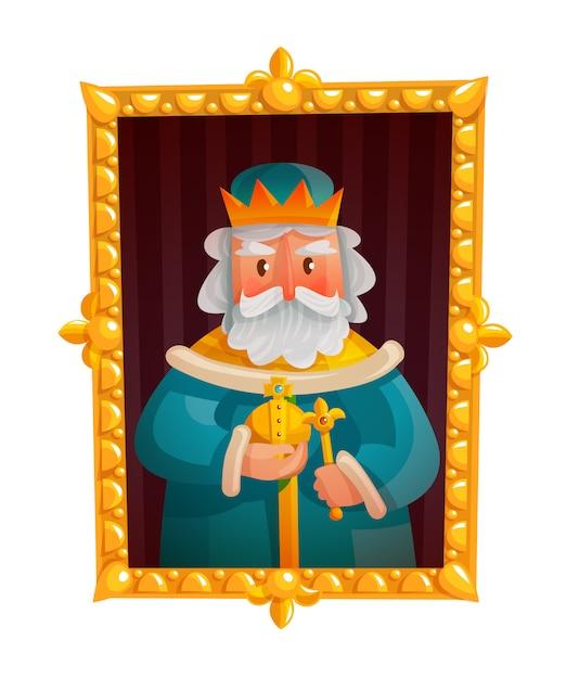 Rey, caricatura, retrato vector gratuito