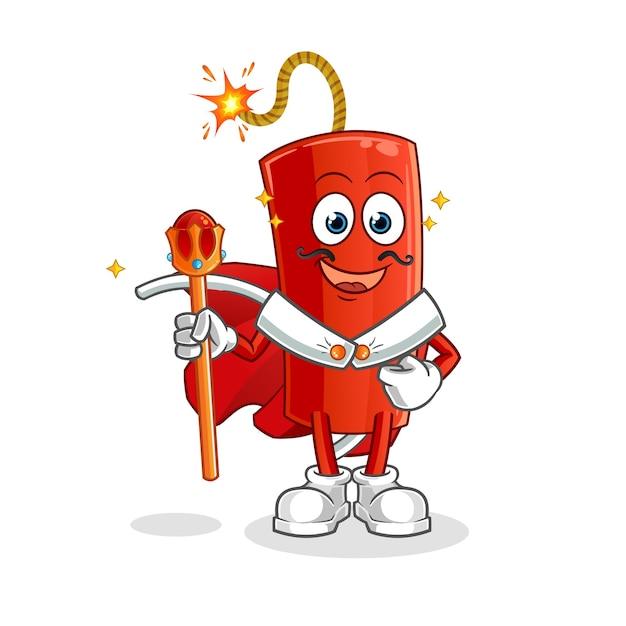 Rey de la dinamita. personaje animado Vector Premium