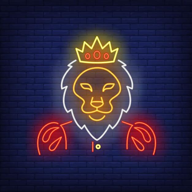 Rey león letrero de neón vector gratuito