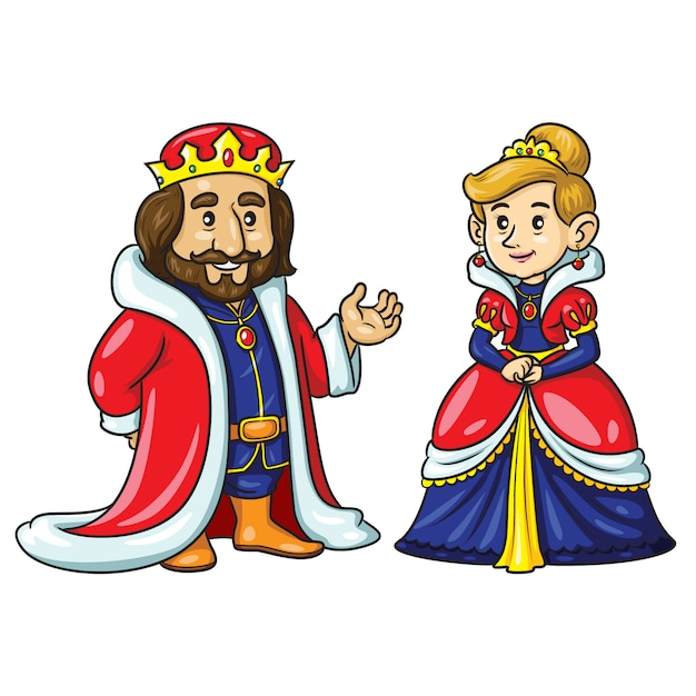 Rey reina cute cartoon Vector Premium