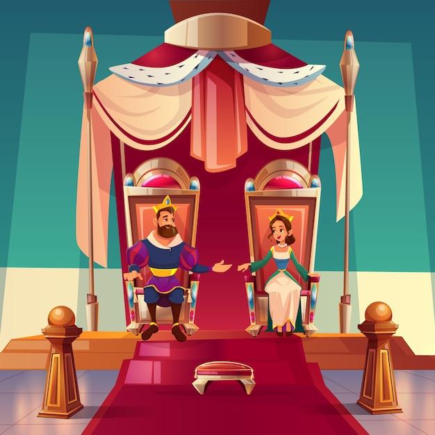 Rey y reina sentados en tronos en palacio. vector gratuito