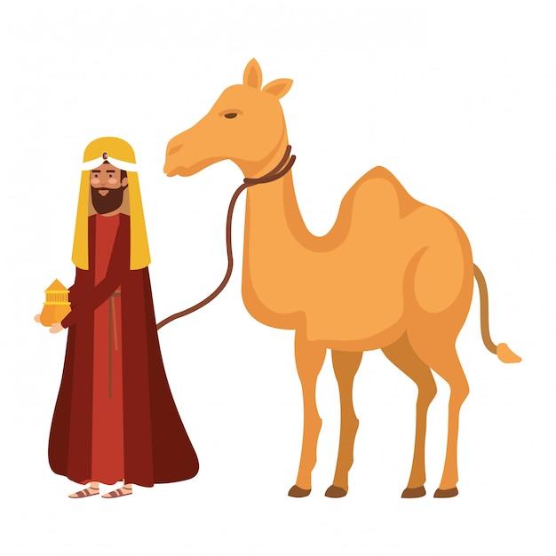 Rey sabio con carácter de camello pesebre Vector Premium
