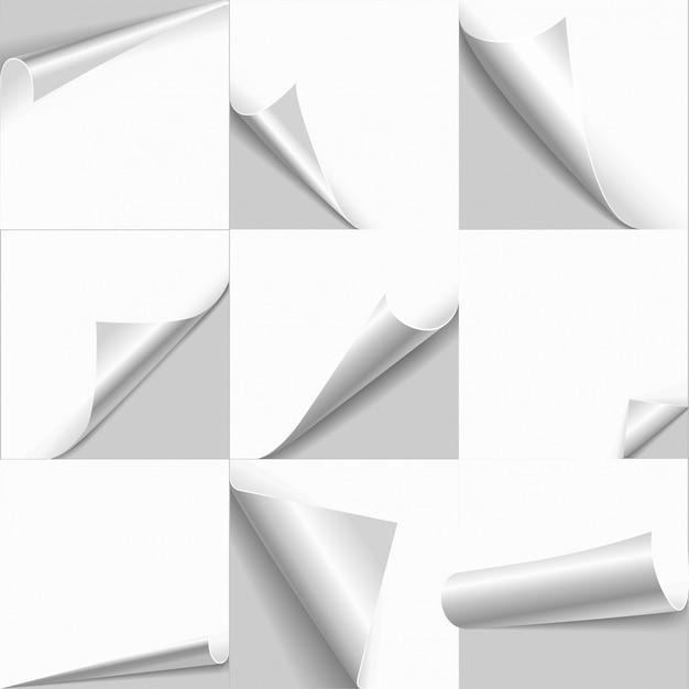 Rizo de página enrollado papel blanco vacío con bordes flip conjunto de copia espacio. vector gratuito