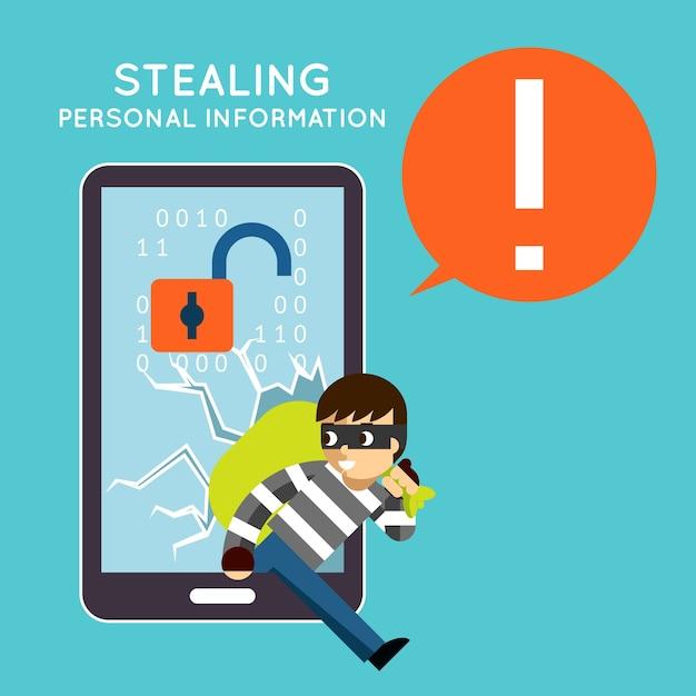 Robar información personal de su teléfono móvil. protección y hacker, robo de delitos, privacidad de teléfonos inteligentes, vector gratuito